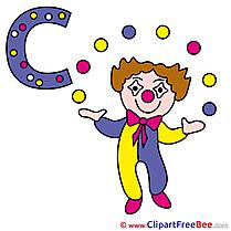 C Clown free Illustration Alphabet