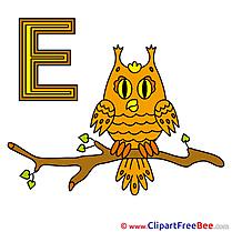 E Eule Clipart Alphabet Illustrations