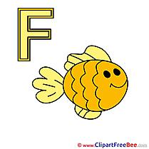 F Fisch Pics Alphabet Illustration