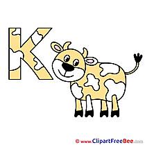 K Kuh Alphabet download Illustration