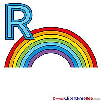 R Regenbogen Alphabet Illustrations for free