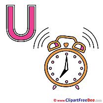 U Uhr free Cliparts Alphabet