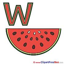 W Wassermelone Pics Alphabet Illustration