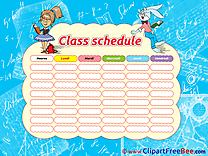Rabbit Girl Pupils Class Schedule free printable Cliparts and Images