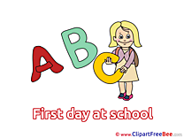 Alphabet Girl Cliparts First Day at School for free