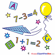 Arithmetic Math Balloon Numbers First Day at School Clip Art for free