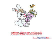 Bunny Cone Bird Clipart First Day at School Illustrations