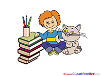 Cat Boy Books Pics First Day at School free Cliparts