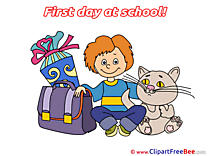 Cat Boy Schoolbag Clipart First Day at School Illustrations