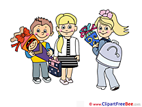 Children Pupils printable Illustrations First Day at School