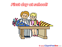 Desk Pupils printable Illustrations First Day at School