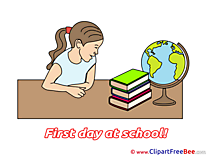 Drawing Globe Books Girl Pics First Day at School free Image