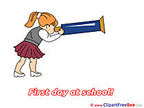 Girl free Illustration First Day at School