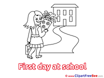 Girl Schoolgirl First Day at School download Illustration