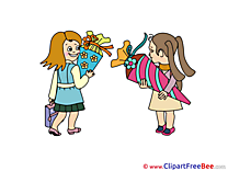 Image Girls Pupils First Day at School Illustrations for free