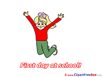 Jumping Girl Clipart First Day at School Illustrations