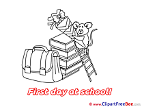 Ladder Mouse Books Cliparts First Day at School for free