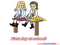 Learners Girls Bench printable Illustrations First Day at School
