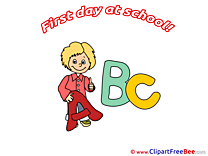 Letters Alphabet Boy First Day at School free Images download