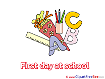 Letters Pencils Pics First Day at School Illustration