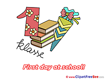 Number 1 Books Cone First Day at School Clip Art for free