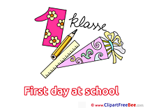 Number 1 Pencil Ruler Clip Art download First Day at School
