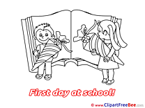 Open Book Children printable Illustrations First Day at School
