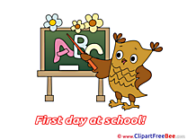 Owl Blackboard Alphabet Cliparts First Day at School for free
