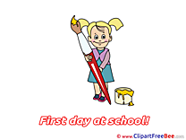Painter Girl Brush Pics First Day at School Illustration