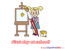 Painter Girl Clipart First Day at School Illustrations
