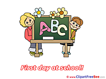 Pupils Blackboard Alphabet Pics First Day at School free Cliparts