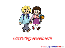 Pupils Flowers Cliparts First Day at School for free