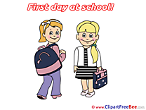 Schoolbag Girl Friends download Clipart First Day at School Cliparts