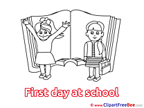 Schoolgirs free Illustration First Day at School