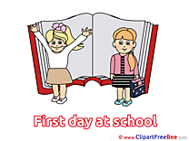 Textbook Children Clipart First Day at School Illustrations