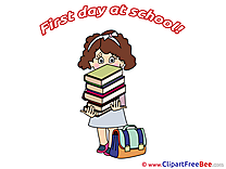 Textbooks Girl Clipart First Day at School free Images