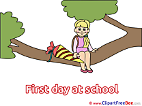 Tree Branch Girl Pics First Day at School free Cliparts