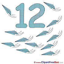 12 Planes Cliparts Numbers for free