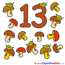 13 Mushrooms Pics Numbers free Cliparts