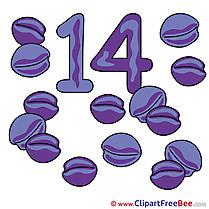 14 Plums printable Illustrations Numbers