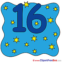 16 Stars Numbers Clip Art for free
