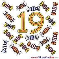 19 Candies printable Numbers Images