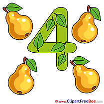 4 Pears free Cliparts Numbers