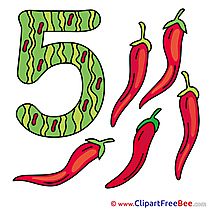 5 Peppers Clipart Numbers Illustrations