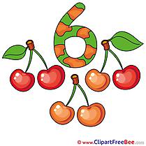 6 Cherries Pics Numbers Illustration