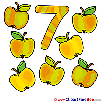 7 Apples Numbers free Images download