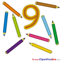 9 Pencils Clip Art download Numbers