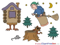 Baba Yaga Trees Mouse Cliparts Fairy Tale for free