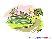 Farm Road Tree Sun Clip Art download for free