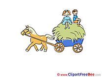 Hay Cart Boys Horse Clipart free Illustrations
